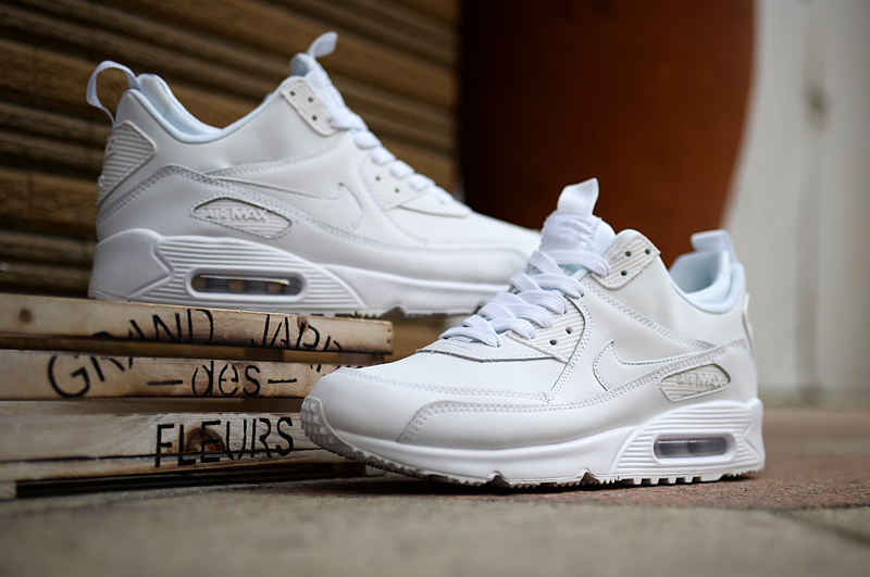 New Nike Air Max 90 High All White Shoes