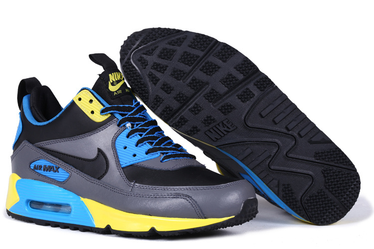 New Nike Air Max 90 High Black Grey Blue Yellow Shoes