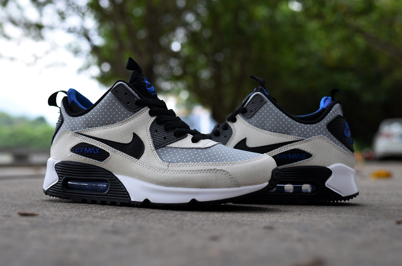 New Nike Air Max 90 High Grey Black Blue Shoes