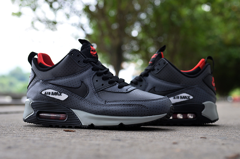New Nike Air Max 90 High Grey Black Red Shoes