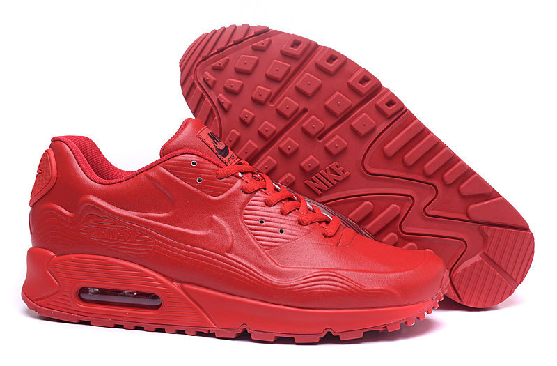 New Nike Air Max 90 Leather All Red Shoes