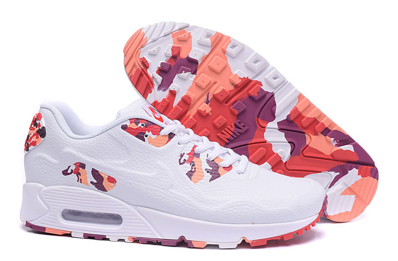 New Nike Air Max 90 Leather White Colorful Shoes