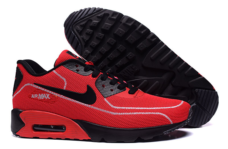 New Nike Air Max 90 Midnight Firefly Red Black Shoes