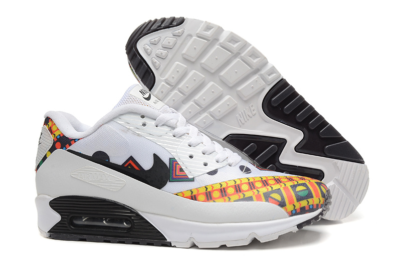 New Nike Air Max 90 White Black Yellow Shoes