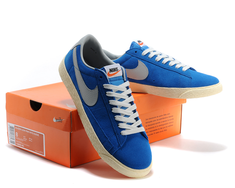 New Nike Blazer Low Blue White Shoes