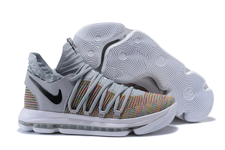Nike KD 10 Cool Black Grey Colorful Shoes