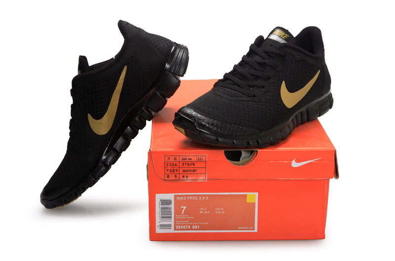 Latest Nike Free 3.0 All Black Gold Swoosh Shoes