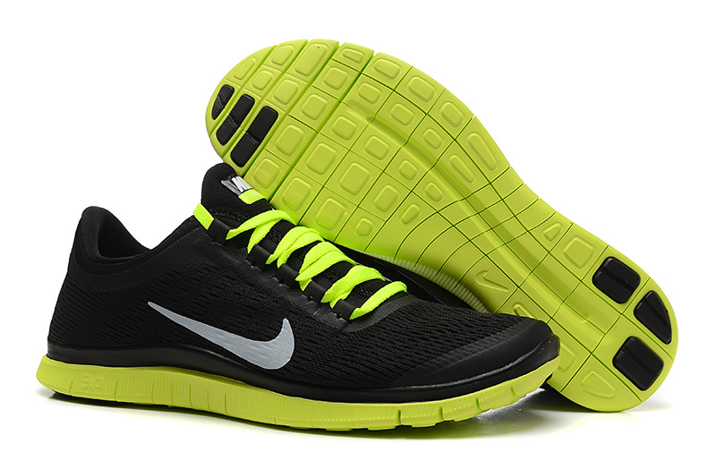 newest collection c84f5 24a42 New Nike Free 3.0 V5 Black Fluorscent Green Running Shoes