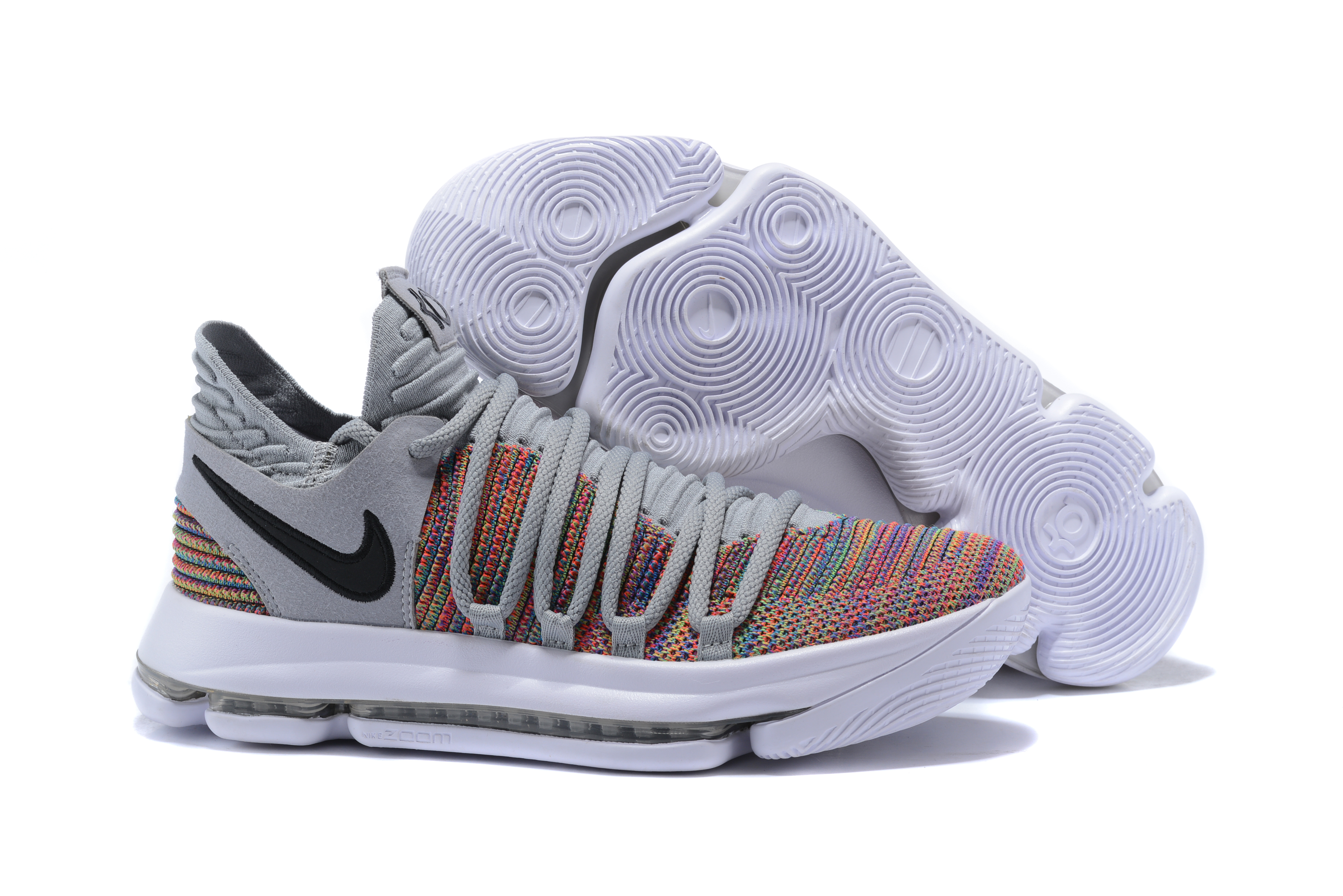 New Nike KD 10 Grey Colorful Shoes