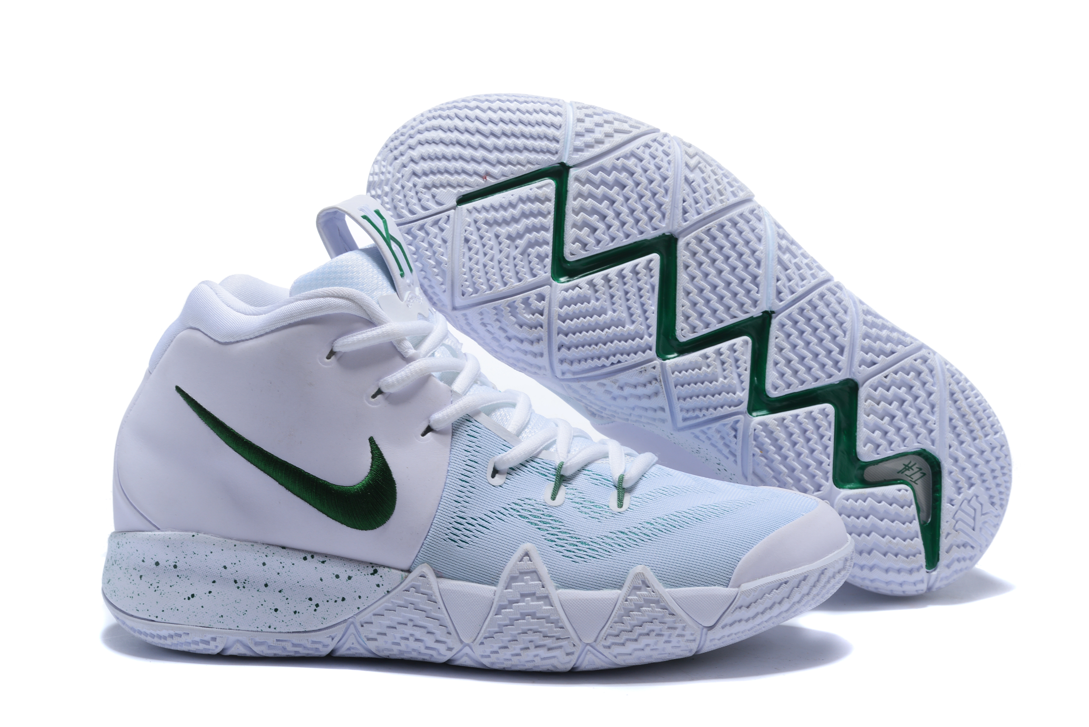 New Nike Kyrie 4 White Dark Green Shoes