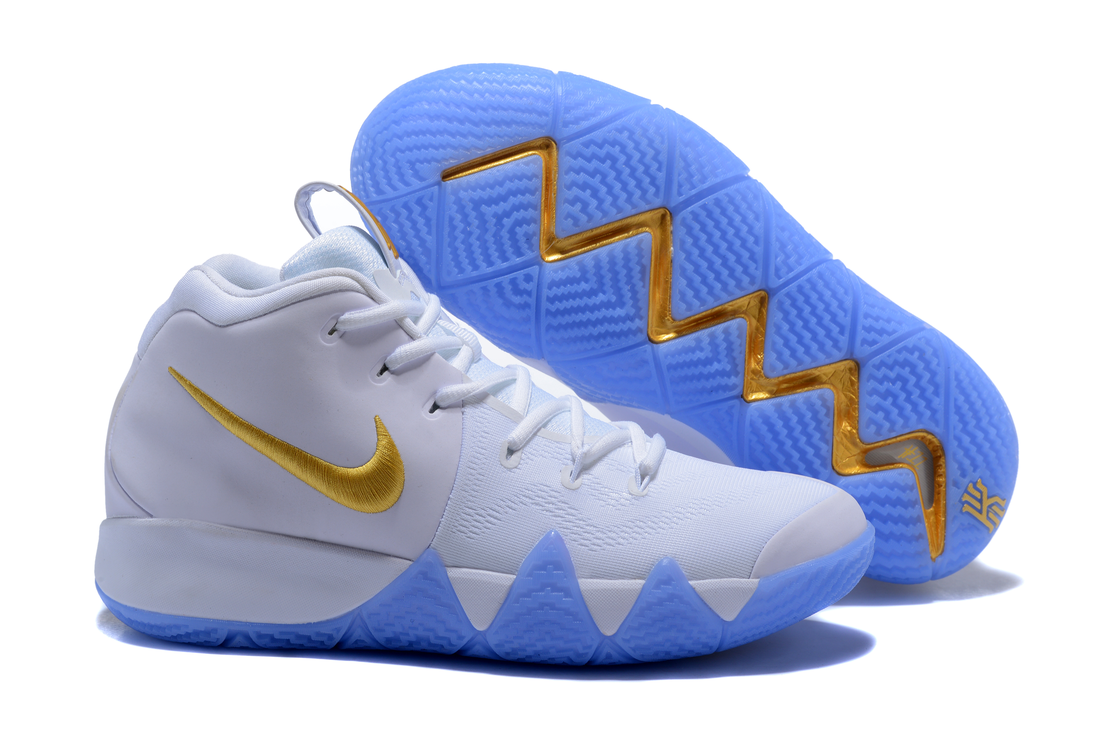 New Nike Kyrie 4 White Gloden Shoes