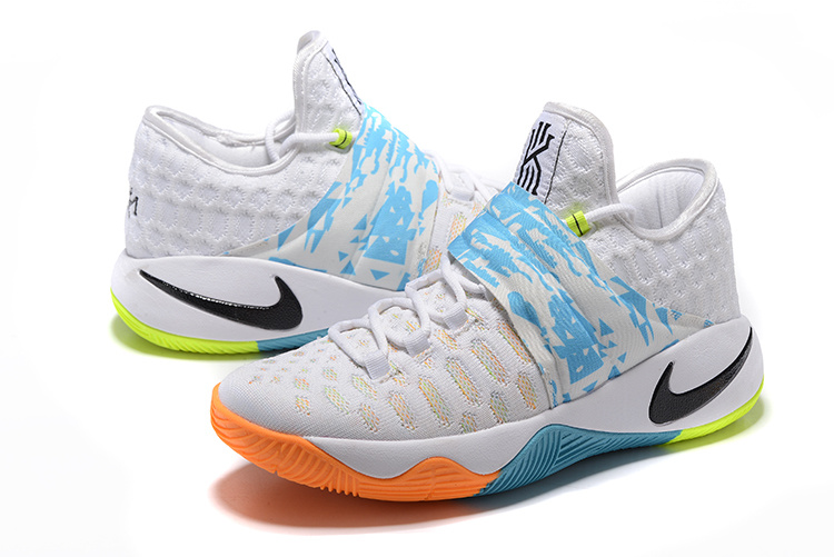 New Nike Kyrie Irving 2.5 White Blue Orange Basketball Shoes