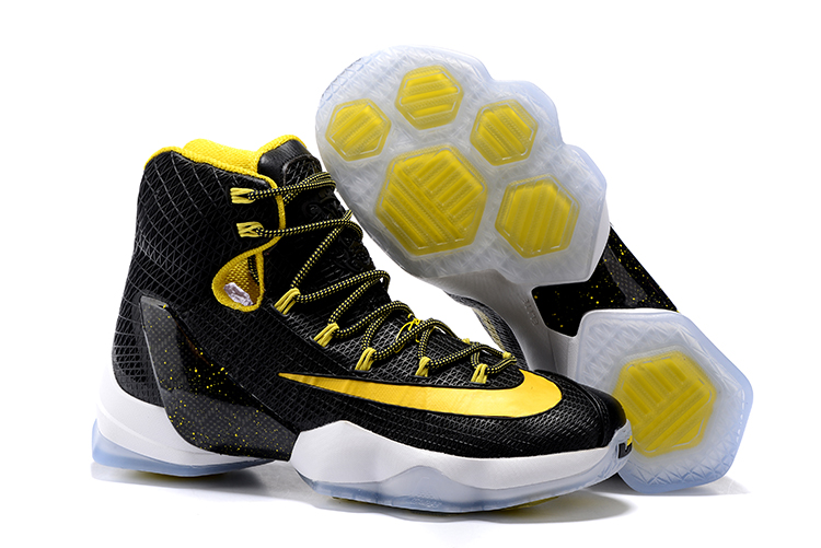 New Nike Lebron 13 Black Yellow White Basketball Shoes
