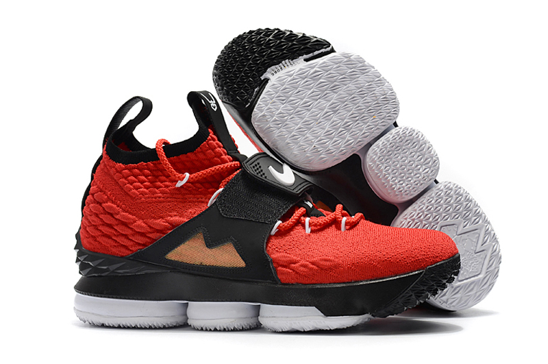 New Nike Lebron 15 Red Black Golden Shoes