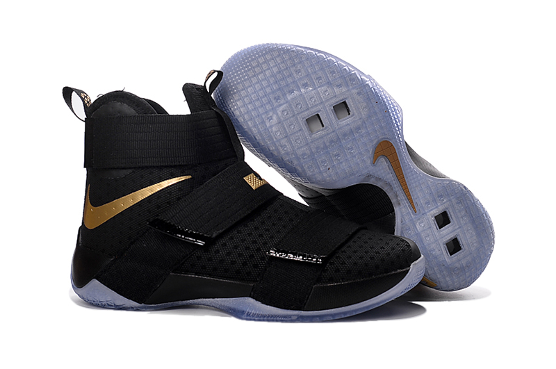 New Nike Lebron Solider 10 Black Gloden Shoes