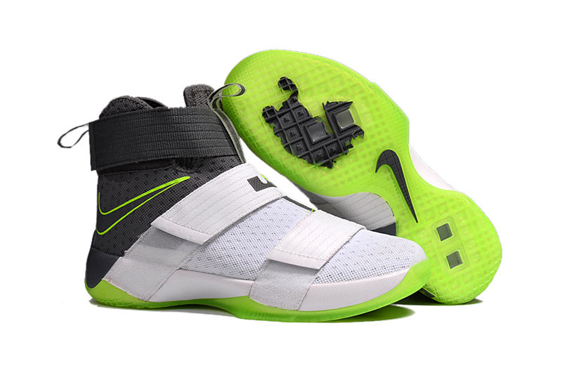 New Nike Lebron Solider 10 White Green Black Shoes