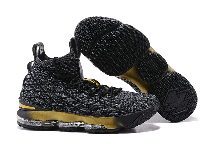New Nike lebron 15 Black Gloden Shoes