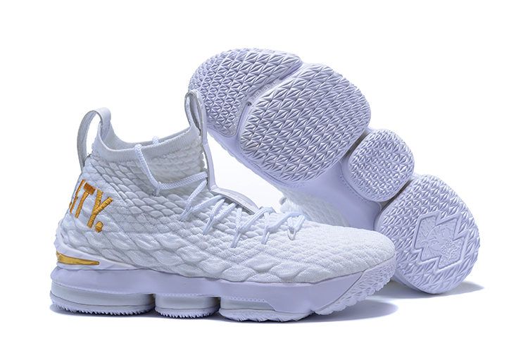 New Nike lebron 15 White Gloden Shoes