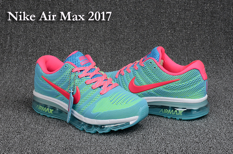 Women Nike Air Max 2017 Jade Blue Pink White Running Shoes