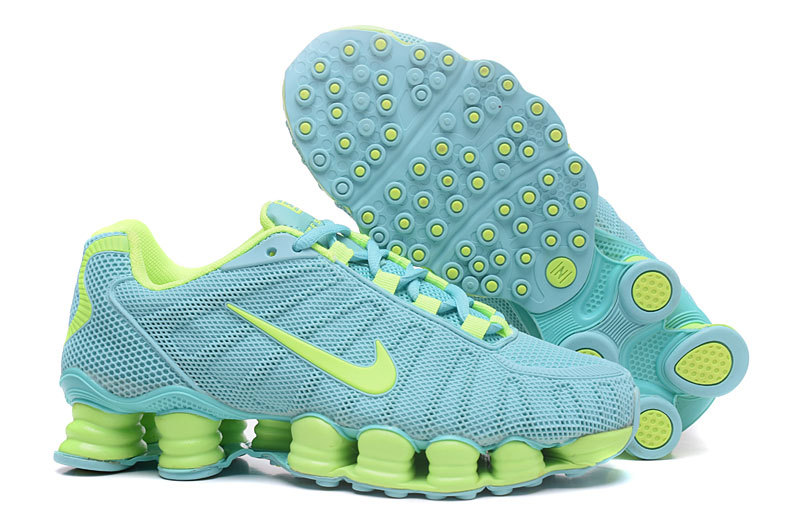 New Women Nike Shox TLX Plastic Surface Baby Blue Green Shoes