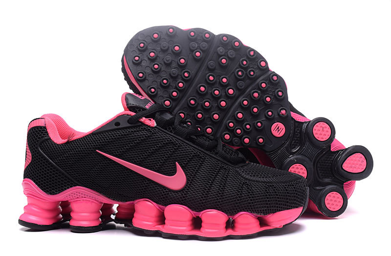 New Women Nike Shox TLX Plastic Surface Black Pink Shoes