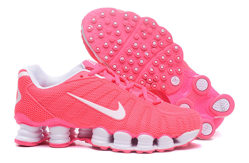New Women Nike Shox TLX Plastic Surface Red White Shoes