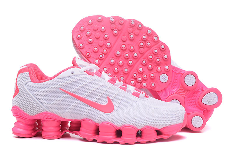 New Women Nike Shox TLX Plastic Surface White Pink Shoes