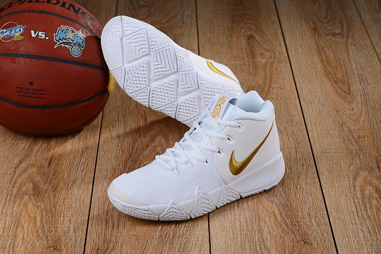 Newly Nike Kyrie 4 White Gloden Shoes