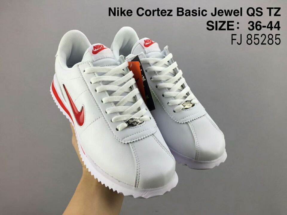 NiKe Cortez Basic Jewel QS TZ White Red Shoes - Click Image to Close