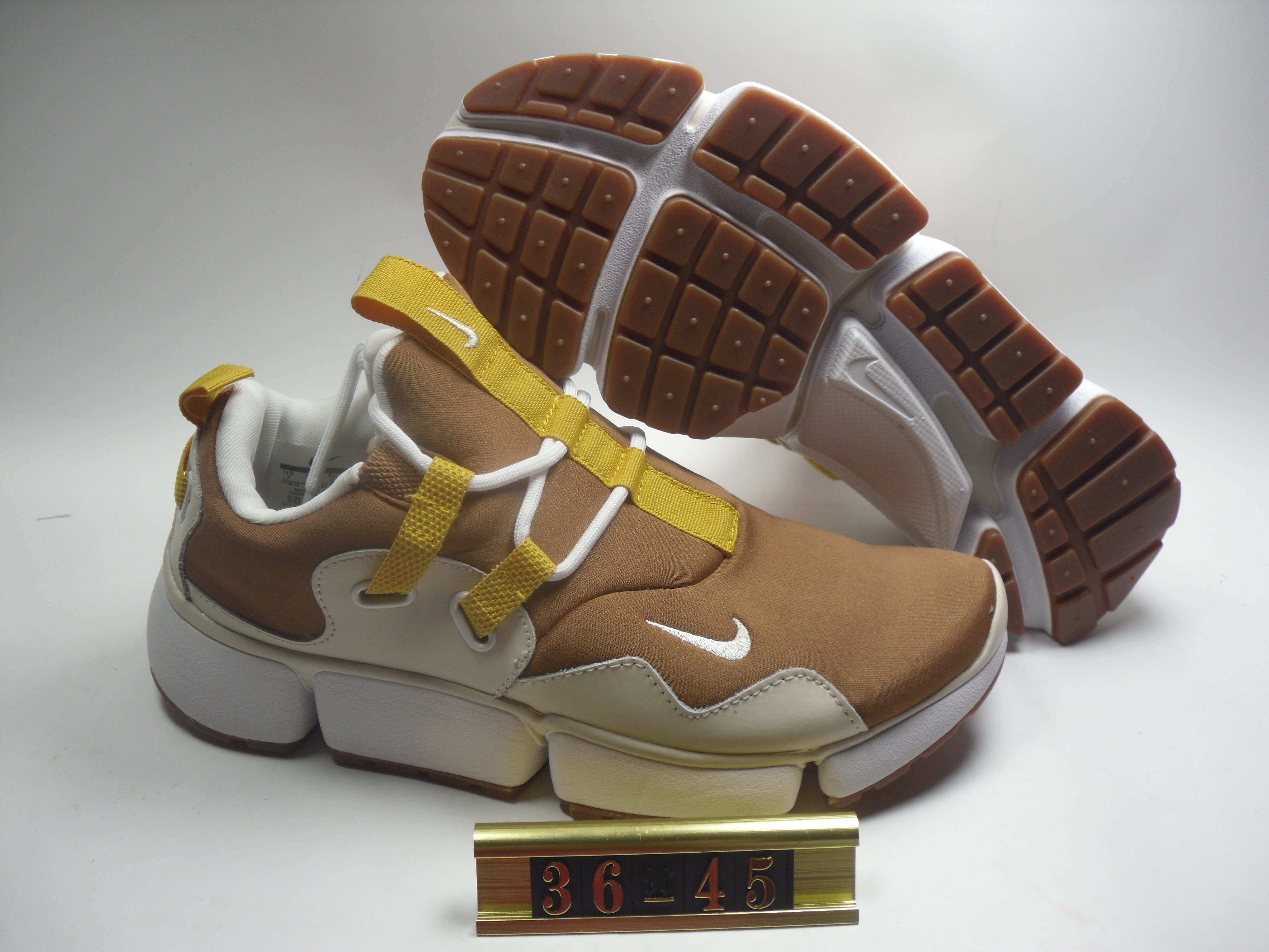 Women Nike Air Huarache 5 Brown Yellow White Shoes