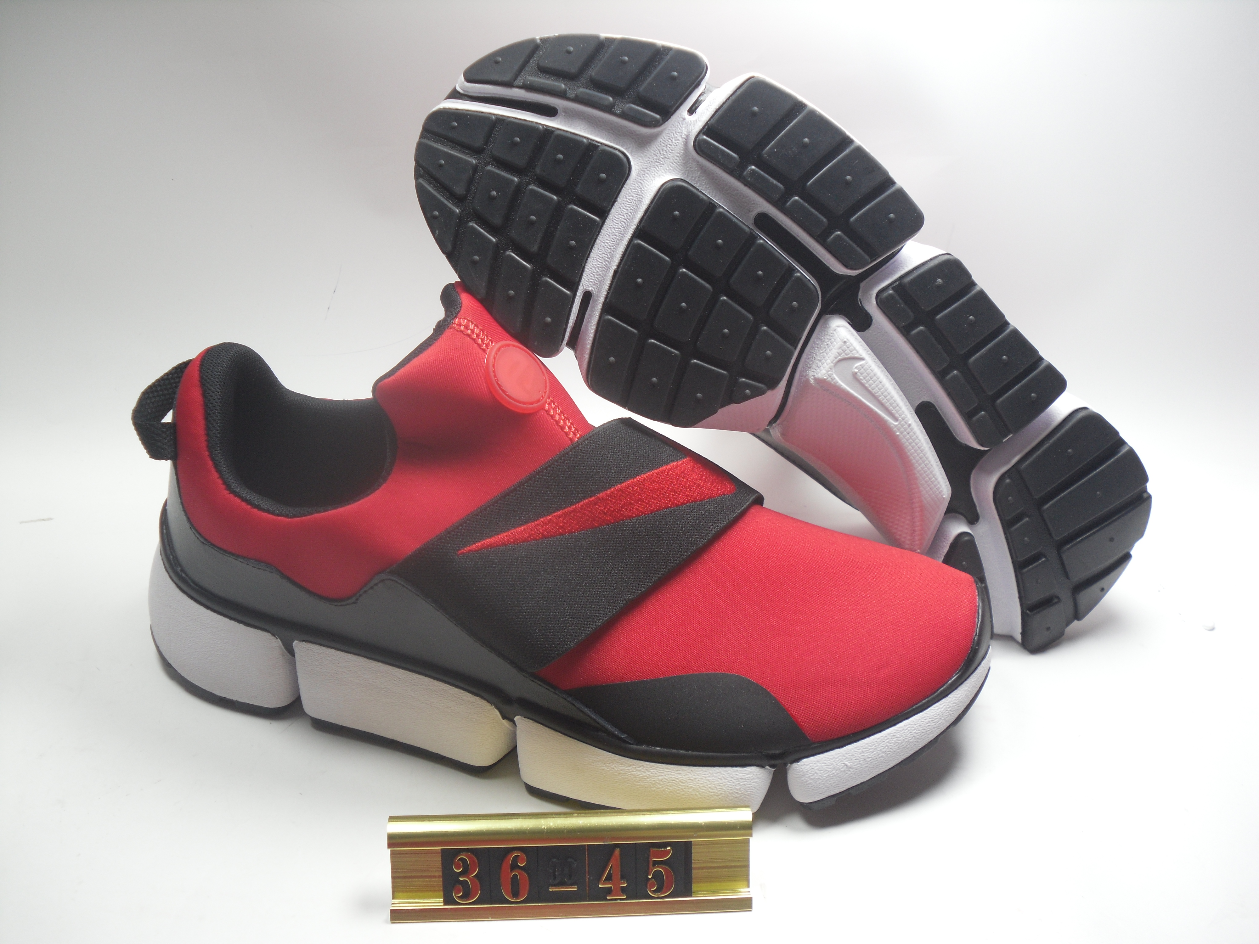 Women Nike Air Huarache 5 Red Black Strap Shoes