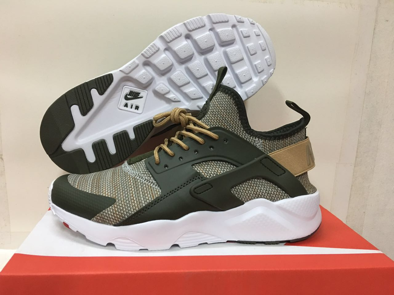 Women Nike Air Huarache 6 Flyknit Green Black Shoes
