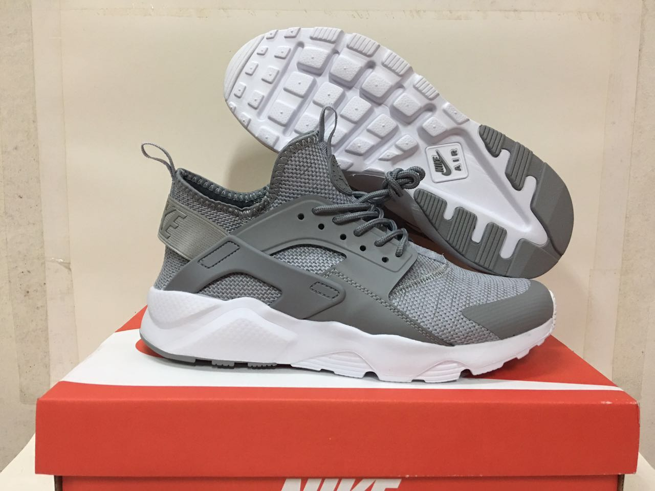 Women Nike Air Huarache 6 Flyknit Grey White Shoes