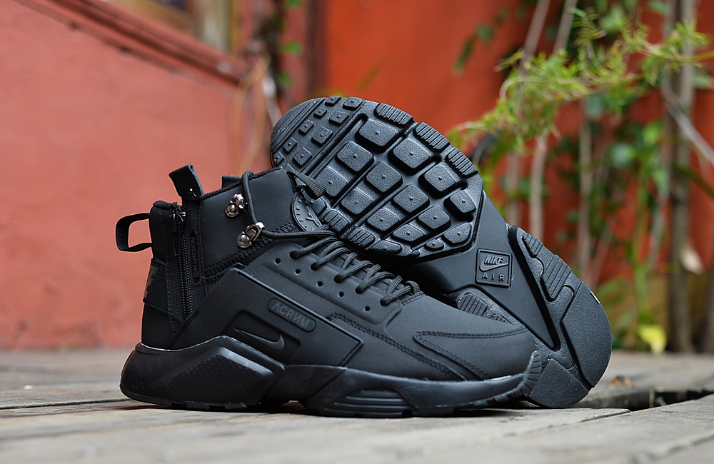 Nike Air Huarache X Acronym City MID Leather All Black Shoes