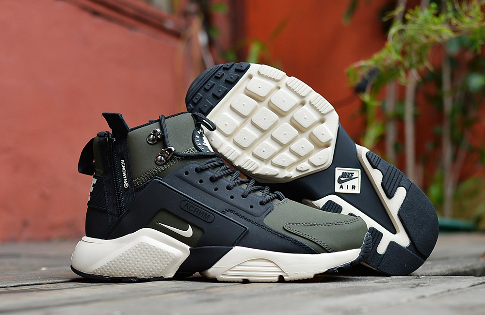 Nike Air Huarache X Acronym City MID Leather Army Green Black White Shoes