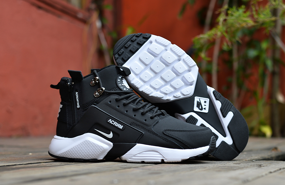 Nike Air Huarache X Acronym City MID Leather Black White Shoes