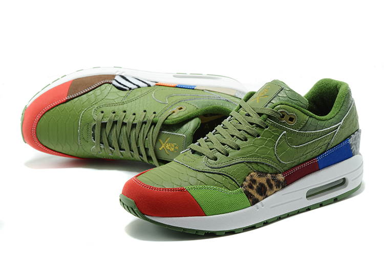 Nike Air Max 1 Air Max Day Black Grass Green Red Shoes For Women