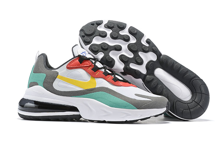 Nike Air Max 270 React White Grey Red Yellow Shoes