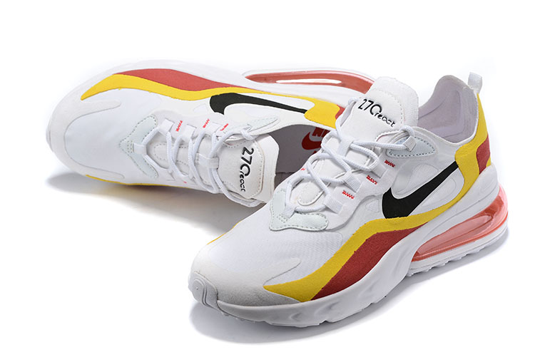 Nike Air Max 270 React White Yellow Red Shoes