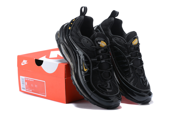 Nike Air Max 98 20th All Black Gold Shoes
