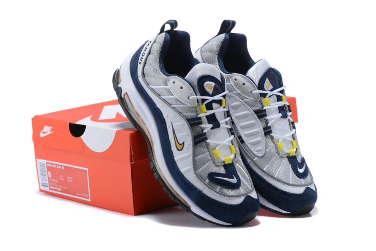 Nike Air Max 98 20th White Silver Blue Yellow Shoes