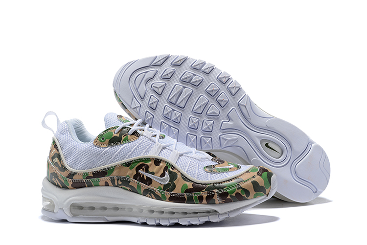 Nike Air Max 98 Flyknit White Flor Print Green Shoes