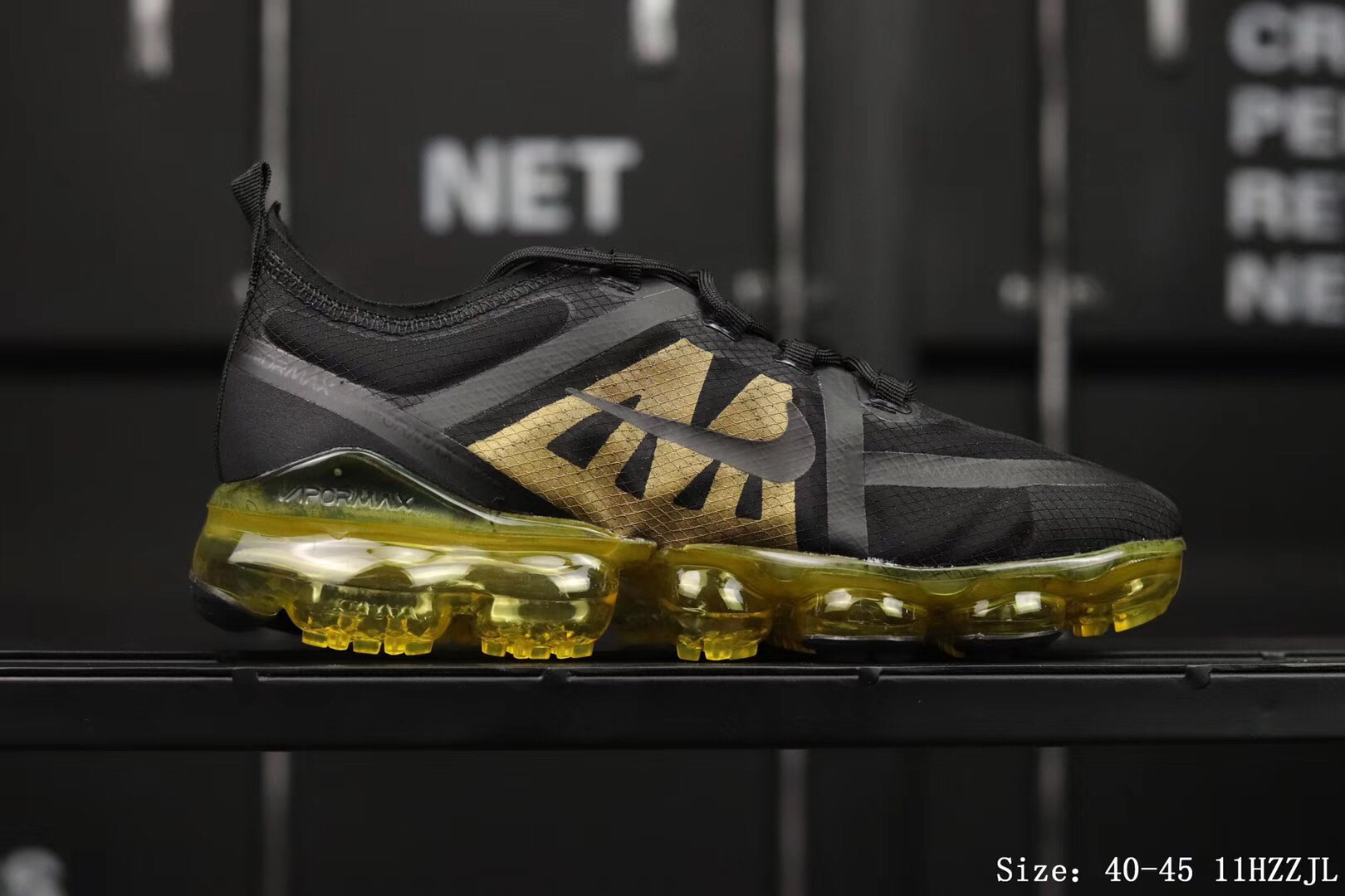 Nike Air Vapormax 2019 Mesh Black Gold Shoes For Women
