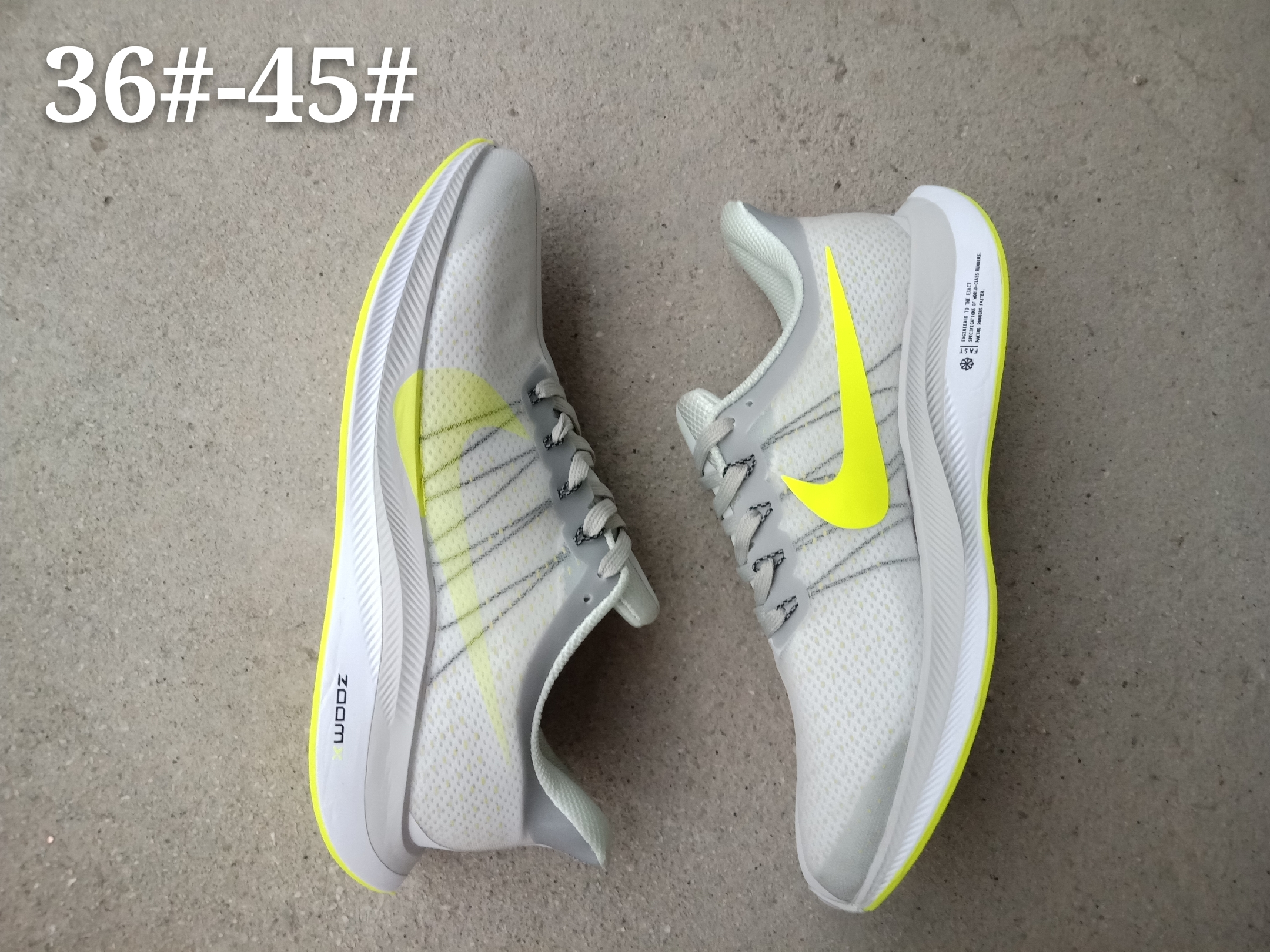 Women Nike Air Zoom Pegasus 35X Grey Yellow Shoes