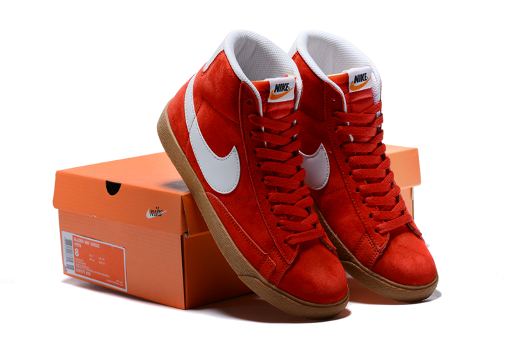 Nike Blazer Mid PRM VNTG Red White Gum Sole Shoes