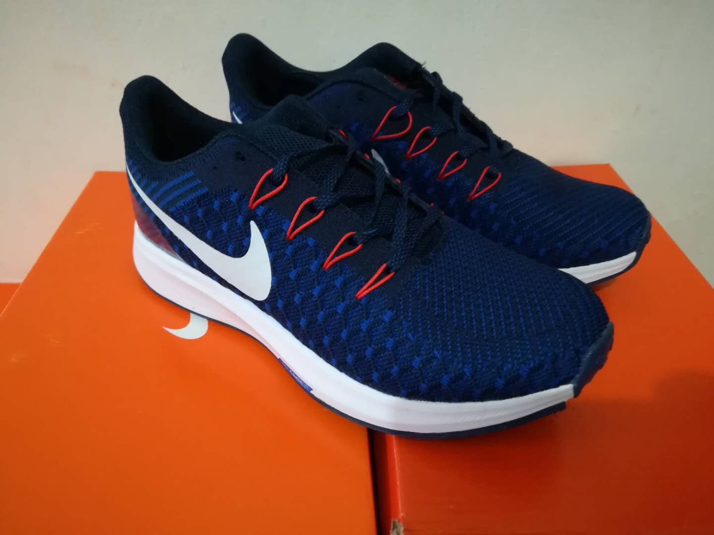 Nike Flyknit Lunar 2 iD Deep Blue Red Shoes