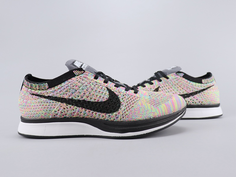 Women Nike Flyknit Racer Rainbow Colorful Black Shoes
