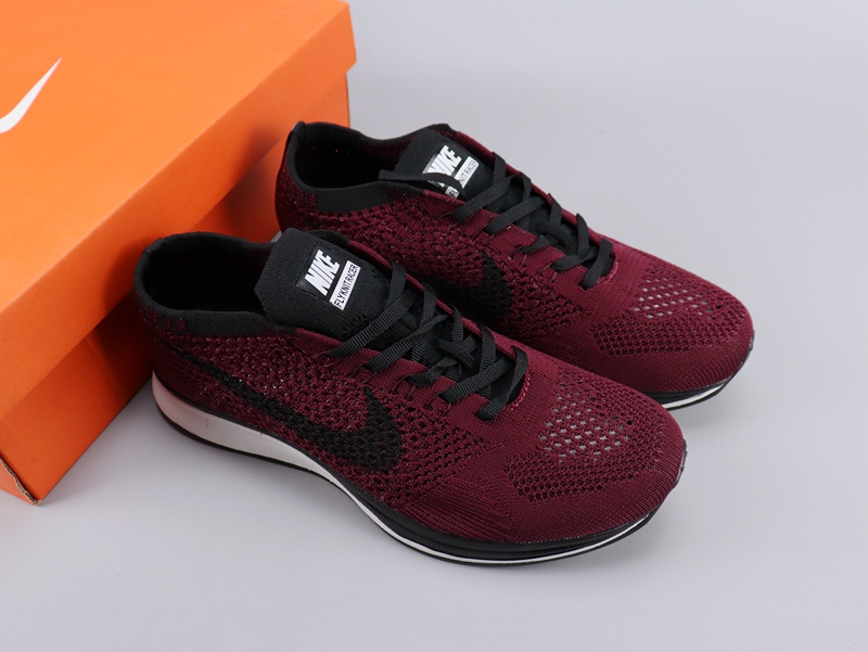 Women Nike Flyknit Racer Wine Red Black Shoes