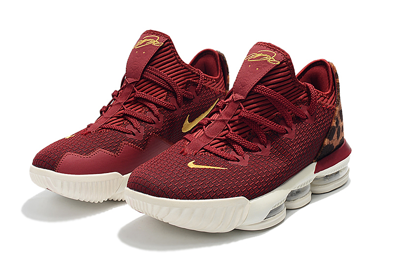 2019 Nike LeBron 16 Low Cheetah Print Wine Red Yellow