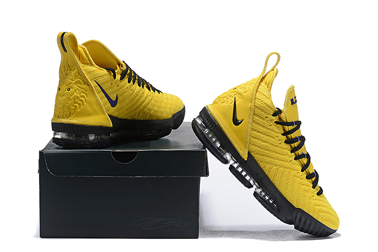 2019 Nike LeBron 16 Yellow Black Basketball Shoes